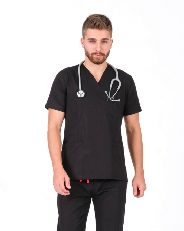 Erkek %100 Pamuk Likralı V Yaka Takma Kol Siyah Doktor Ve Hemşire Forma Üstü