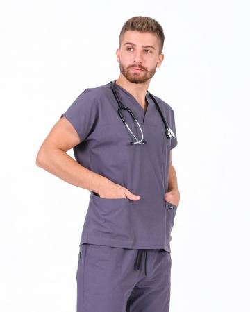 Erkek Cerrahi Yaka Terrycotton Gri Doktor ve Hemşire Forma Üstü
