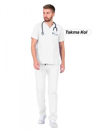 Erkek Gabardin Seri Cerrahi Yaka Takma Kol Beyaz Doktor ve Hemşire Forması Scrubs Takımı