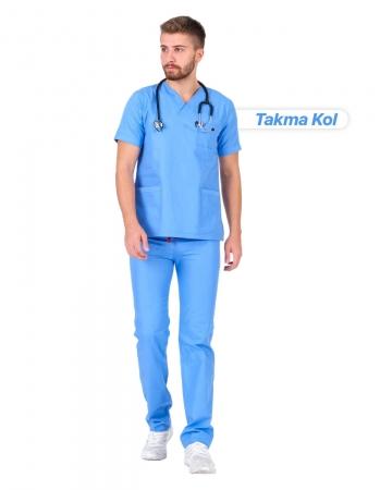 Erkek Gabardin Seri Cerrahi Yaka Takma Kol İndigo Mavisi Doktor ve Hemşire Forması Scrubs Takımı