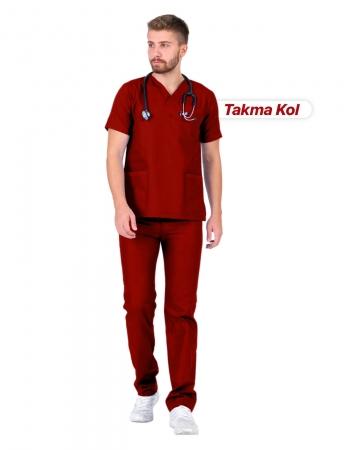 Erkek Gabardin Seri Cerrahi Yaka Takma Kol Kırmızı Doktor ve Hemşire Forması Scrubs Takımı