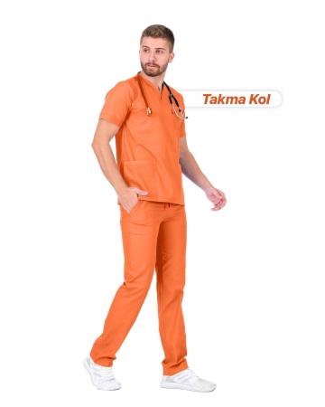 Erkek Gabardin Seri Cerrahi Yaka Takma Kol Oranj Doktor ve Hemşire Forması Scrubs Takımı
