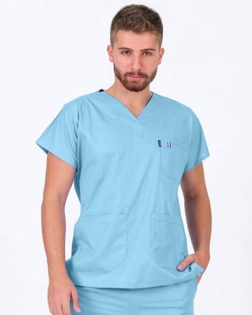 Erkek %100 Pamuk Likralı Buz Mavisi Doktor ve Hemşire Forması Üstü