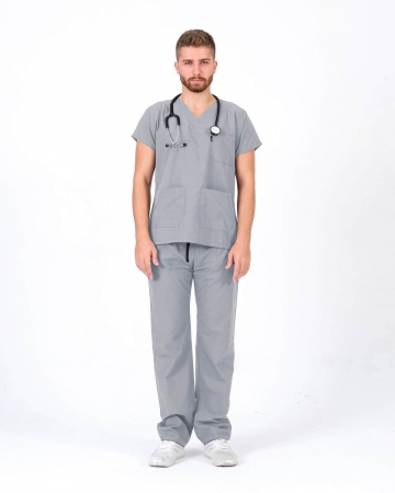 Erkek Gri Relax Likralı Yarasa Kol Doktor ve Hemşire Forması Takımı