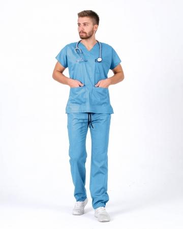 Erkek İndigo Mavisi Relax Likralı Yarasa Kol Doktor ve Hemşire Forması Takımı