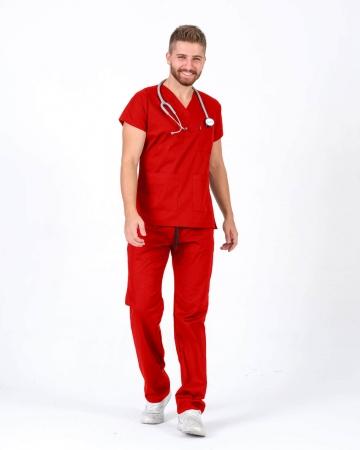 Erkek Kırmızı Relax Likralı Yarasa Kol Doktor ve Hemşire Forması Takımı