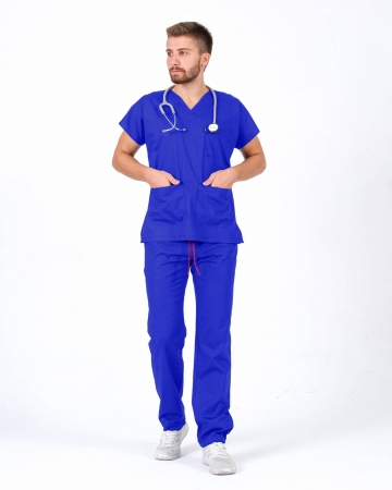Erkek Saks Mavisi Relax Likralı Yarasa Kol Doktor ve Hemşire Forması Takımı