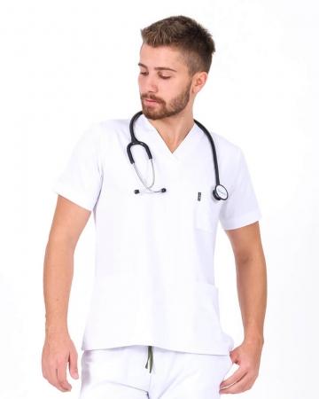 Erkek Beyaz Relax Likralı Takma Kol Doktor ve Hemşire Forması Forma Üstü