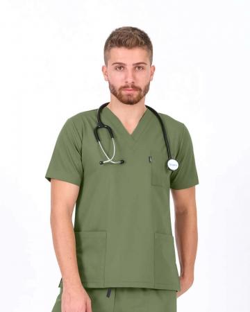 Erkek Mint Yeşili Relax Likralı Takma Kol Doktor ve Hemşire Forması Forma Üstü
