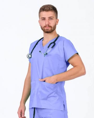 Erkek Terrycotton Buz Mavisi Doktor ve Hemşire Forması Üstü