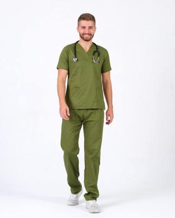 Erkek %100 Pamuk Likralı Takma Kol Asker Yeşili Doktor ve Hemşire Forması Scrubs Takımı