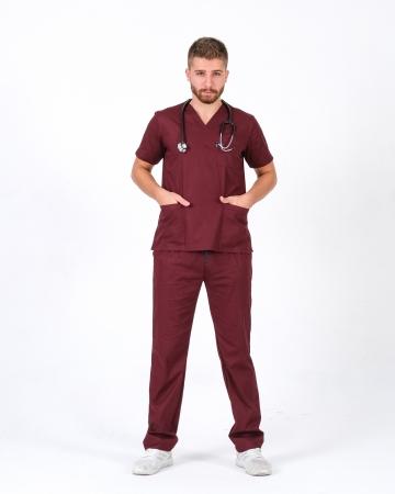 Erkek %100 Pamuk Likralı Takma Kol Bordo Doktor ve Hemşire Forması Scrubs Takımı