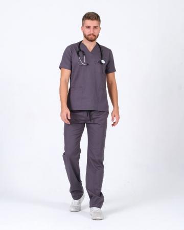 Erkek %100 Pamuk Likralı Takma Kol Gri Doktor ve Hemşire Forması Scrubs Takımı