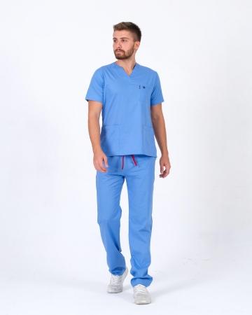 Erkek %100 Pamuk Likralı Takma Kol İndigo Mavisi Doktor ve Hemşire Forması Scrubs Takımı