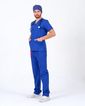 Erkek %100 Pamuk Likralı Takma Kol Saks Mavisi Doktor ve Hemşire Forması Scrubs Takımı