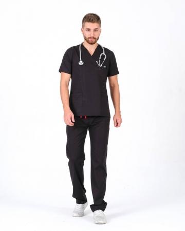 Erkek %100 Pamuk Likralı Takma Kol Siyah Doktor ve Hemşire Forması Scrubs Takımı