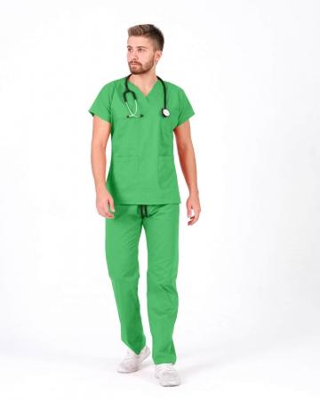 %100 Pamuk Likralı Benetton Yeşili Doktor ve Hemşire Forması Takımı