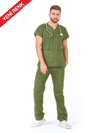 Erkek V Yaka Yarasa Kol Terrycotton Asker Yeşili Scrubs Takım