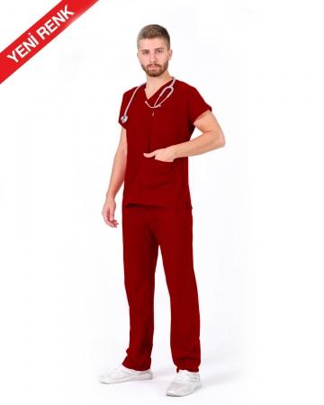 Erkek V Yaka Yarasa Kol Terrycotton Koyu Kırmızı Scrubs Takım