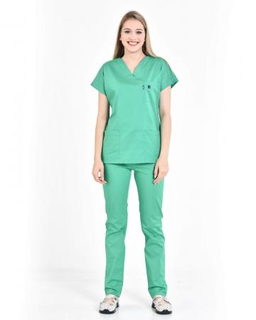 Kadın %100 Pamuk Likralı Benetton Yeşili Doktor ve Hemşire Forması Takımı