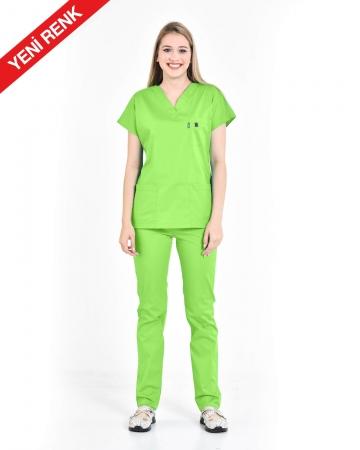 %100 Pamuk Likralı Fıstık Yeşili Doktor ve Hemşire Forması Takımı
