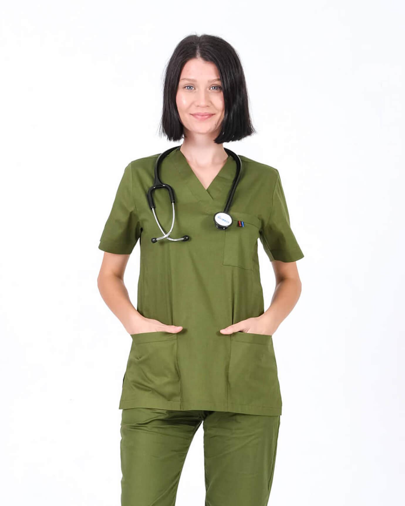 %100 Pamuk Likralı Takma Kol Asker Yeşili Forma Üstü