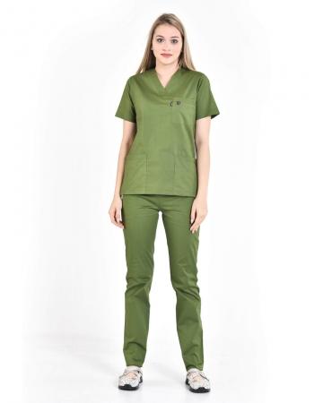 Kadın %100 Pamuk Likralı Takma Kol Asker Yeşili Doktor ve Hemşire Forması Scrubs Takımı