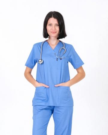 Kadın %100 Pamuk Likralı Takma Kol İndigo Mavisi Forma Üstü