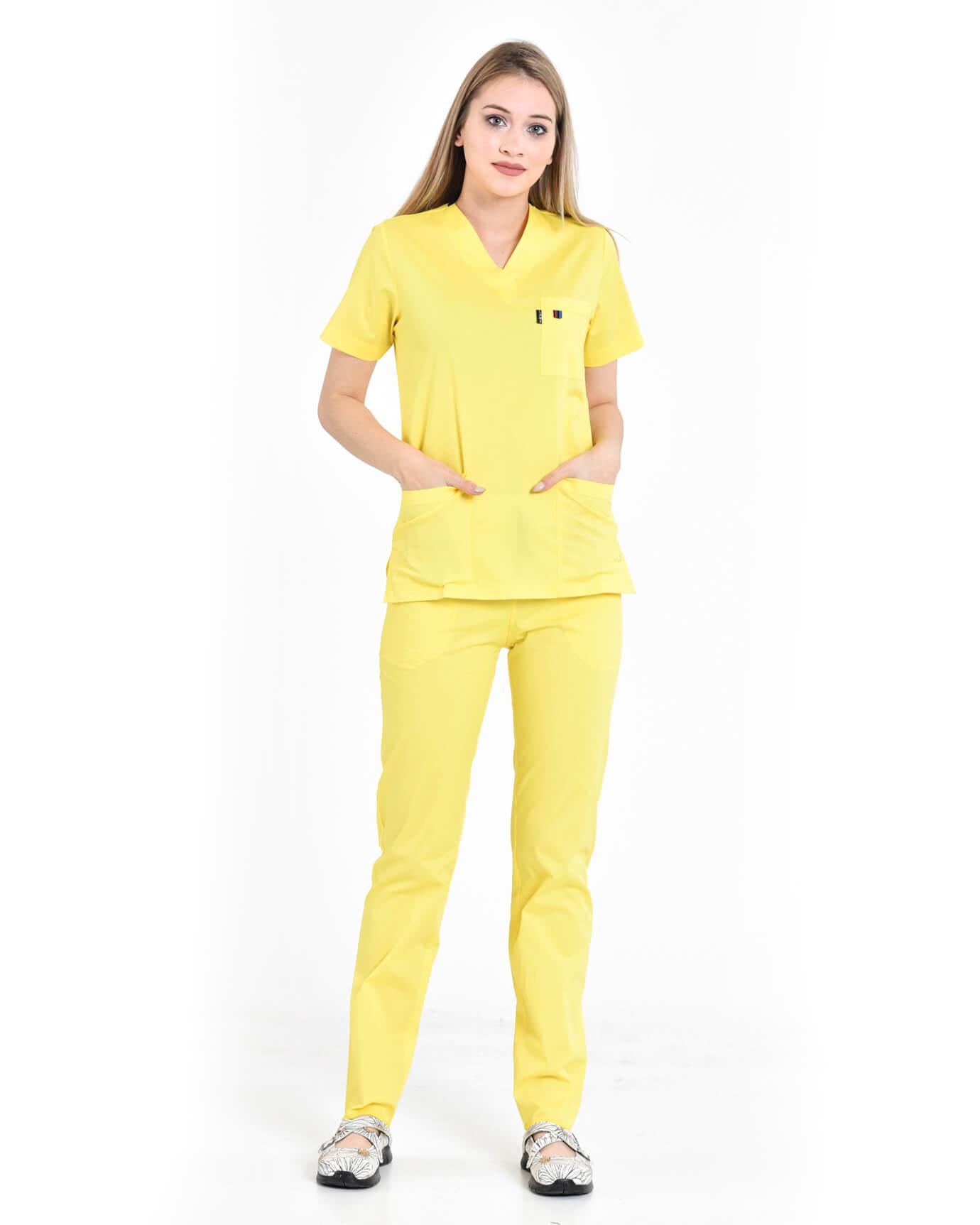 %100 Pamuk Likralı Takma Kol Sarı Takım