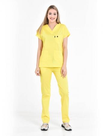 %100 Pamuk Likralı Sarı Doktor ve Hemşire Forması Takımı