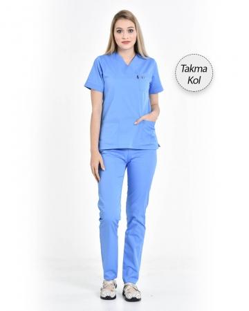 Kadın Gabardin Seri Cerrahi Yaka Takma Kol İndigo Mavisi Doktor ve Hemşire Forması Scrubs Takımı