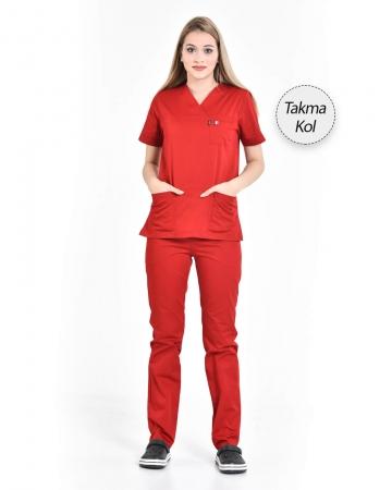 Kadın Gabardin Seri Cerrahi Yaka Takma Kol Kırmızı Doktor ve Hemşire Forması Scrubs Takımı