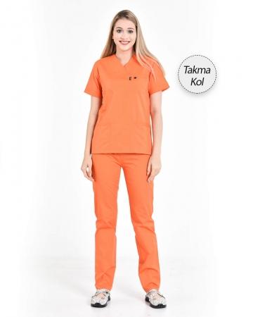 Kadın Gabardin Seri Cerrahi Yaka Takma Kol Oranj Doktor ve Hemşire Forması Scrubs Takımı