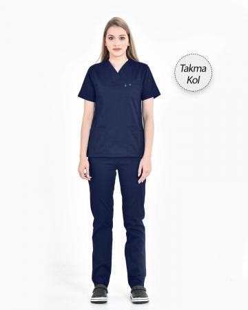 Kadın Gabardin Seri Cerrahi Yaka Takma Kol Petrol Mavisi Doktor ve Hemşire Forması Scrubs Takımı