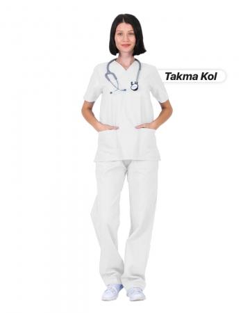 Kadın Gabardin Seri Cerrahi Yaka Takma Kol Beyaz Doktor ve Hemşire Forması Scrubs Takımı