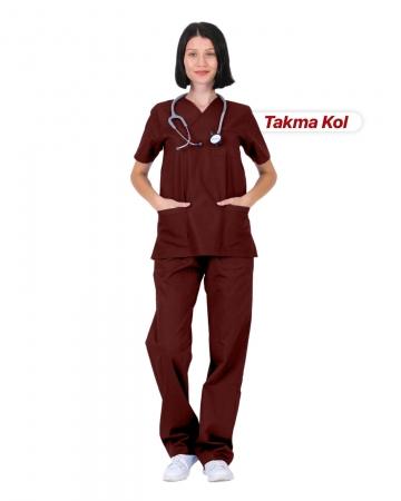 Kadın Gabardin Seri Cerrahi Yaka Takma Kol Bordo Doktor ve Hemşire Forması Scrubs Takımı