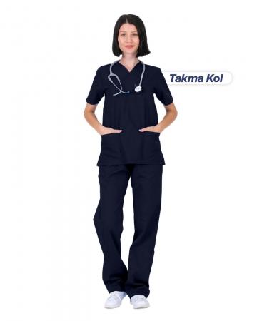Kadın Gabardin Seri Cerrahi Yaka Takma Kol Lacivert Doktor ve Hemşire Forması Scrubs Takımı