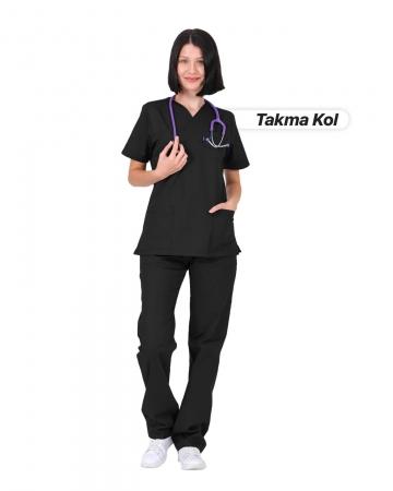 Kadın Gabardin Seri Cerrahi Yaka Takma Kol Siyah Doktor ve Hemşire Forması Scrubs Takımı
