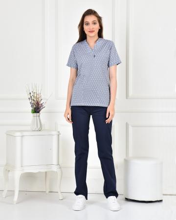 Kadın Likralı Göz Desenli Forma Üstü ve Lacivert Pantolon Takım