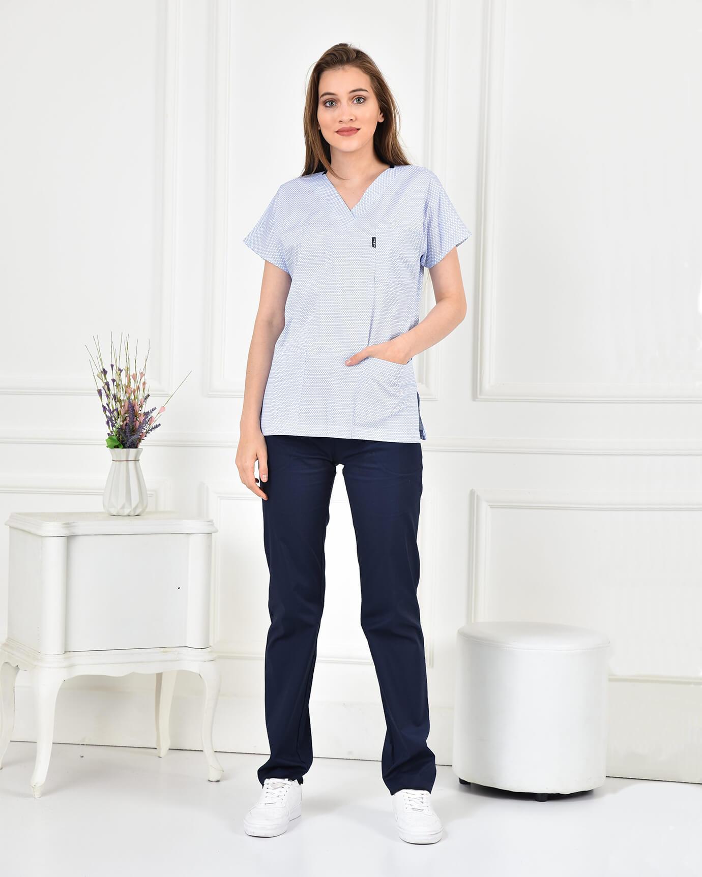 Likralı Halka Desenli Forma Üstü ve Lacivert Pantolon Takım