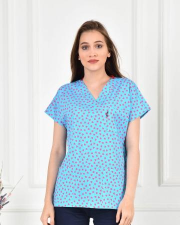Likralı Kalp Desenli Doktor ve Hemşire Forması
