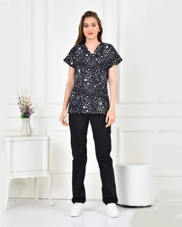 Kadın Likralı Yıldız Desenli Forma Üstü ve Lacivert Pantolon Takım