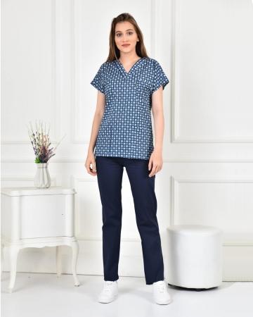 Likralı Zar Desenli Forma Üstü ve Lacivert Pantolon Takım