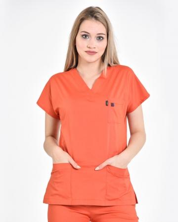 Kadın Terrycotton Oranj Doktor ve Hemşire Forması Üstü