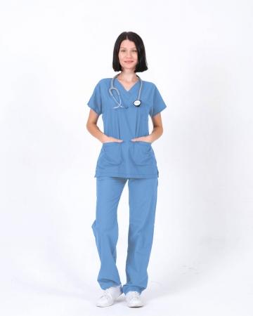 Kadın İndigo Mavisi Relax Likralı Yarasa Kol Doktor ve Hemşire Forması Takımı