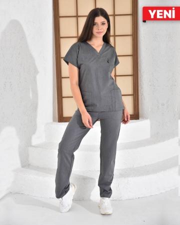 Kadın Premium Likralı Seri Relax V Yaka, Yarasa Kol Çizgili Gri Doktor ve Hemşire Takımı