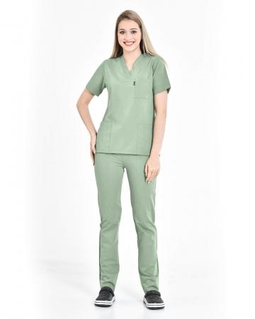 Kadın Premium Likralı Seri Relax V Yaka, Takma Kol Mint Yeşili Doktor ve Hemşire Takımı
