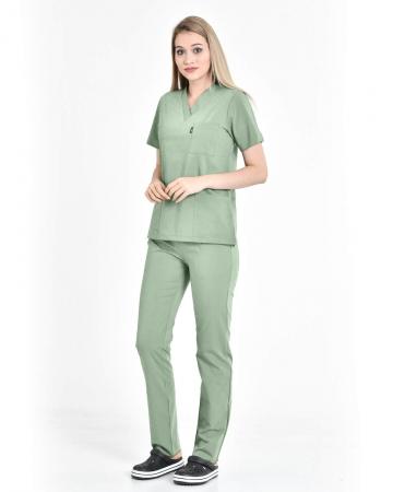 Kadın Premium Likralı Seri Relax V Yaka, Yarasa Kol Mint Yeşili Doktor ve Hemşire Takımı