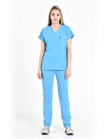 Kadın Buz Mavisi Relax Likralı Yarasa Kol Doktor ve Hemşire Forması Takımı