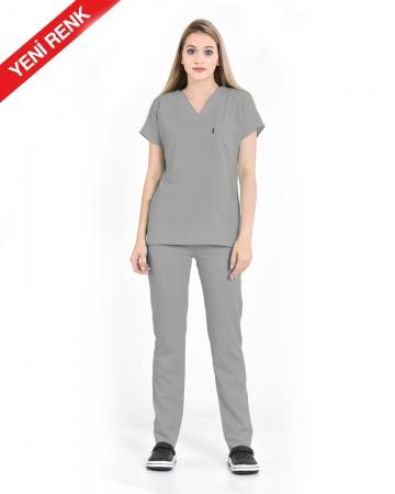 Kadın Premium Seri Relax Gri Yarasa Kol Doktor ve Hemşire Forması Takımı